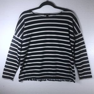 J. Crew Sz Small Striped Pom Pom Long Sleeve Top